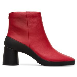 CAMPER upright red leather booties block heel 38